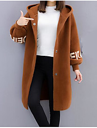 Women's Going out Simple Regular Cardigan,Solid Hooded Long Sleeves Nylon Winter Fall Thick strenchy