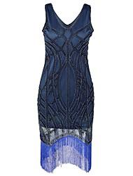 baratos -Grande Gatsby Anos 20 Ocasiões Especiais Mulheres Vestidos / Vestido Coquetel / Baile de Máscara Azul Vintage Cosplay Náilon Chinês /