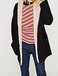 Women's Going out Casual/Daily Long Cardigan,Solid Hooded Long Sleeves Polyester Winter Fall Opaque Micro-elastic