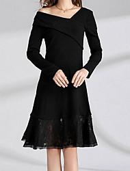 Dámské Vintage Párty Dovolená A Line Šaty Jednobarevné,Dlouhé rukávy Do V Délka ke kolenům Polyester Zima Podzim Vysoký pas Lehce