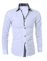 billige Nyheter-Bomull Solid Langt Erme,Skjortekrage Skjorte Stripet Alle årstider Fritid Chinoiserie Daglig Arbeid Herre
