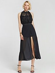 cheap -Women's Going out Swing Dress - Solid Colored Lace Split High Waist Maxi
