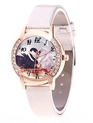 baratos -Mulheres Relógio Casual Relógio de Pulso Simulado Diamante Relógio Chinês Quartzo N/D PU Banda Luxo Casual Legal Preta Branco Azul