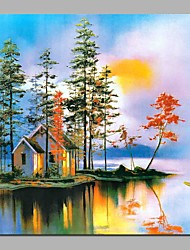 cheap -Oil Painting Hand Painted - Landscape Rustic Canvas