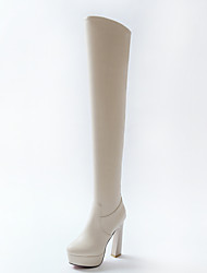 cheap -Women's Shoes Leatherette PU Winter Fall Fashion Boots Boots High Heel Round Toe Over The Knee Boots for Dress Party & Evening Beige