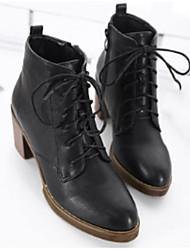Feminino Sapatos Couro Ecológico Inverno Coturnos Botas Salto Robusto Ponta Redonda Botas Curtas / Ankle para Casual Preto Castanho Escuro