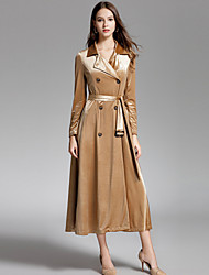 cheap -YHSP Women's Going out Casual/Daily Simple Street chic Sophisticated Winter Fall Trench Coat,Solid Shirt Collar Long Sleeve Long Polyester