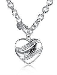 cheap -Women's Hypoallergenic Heart Cubic Zirconia Zircon Silver Plated Pendant Necklace Chain Necklace  -  Hypoallergenic Fashion Sweet Silver