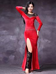 cheap -Belly Dance Dresses Women's Performance Tulle Velvet Chiffon Split Joint Split Long Sleeve Natural Dresses