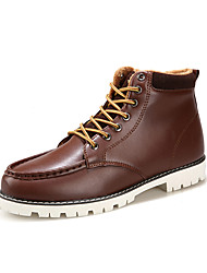 cheap -Men's Shoes Real Leather Fall Winter Comfort Boots Lace-up For Casual Outdoor Light Brown Red Black