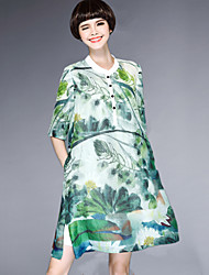 abordables -Mujer Línea A Corte Ancho Vestido Casual/Diario Simple Tejido Oriental,Floral Escote Chino Sobre la rodilla La mitad de manga Seda Verano