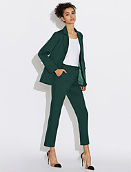 cheap -Women's Work Casual Spring Shirt Pant Suits,Solid Peter Pan Collar Long Sleeve Polyester