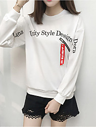 cheap -Women's Petite Daily Street chic Hoodie & Sweatshirt Print Round Neck Necklace Not Included Micro-elastic Polyester Long Sleeve Winter