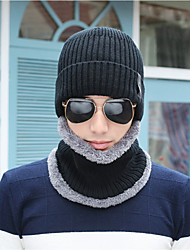 Men's Sweater Floppy Hat,Work Casual Solid Winter Knitted Black