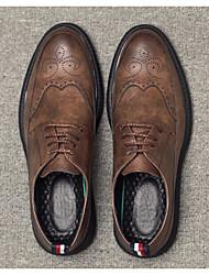 preiswerte -Herren Schuhe Leder Frühling Herbst Komfort Outdoor für Normal Schwarz Grau Braun