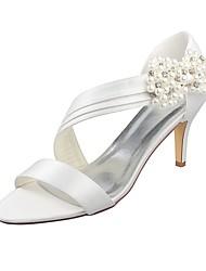 abordables -Femme Chaussures Satin Elastique Eté Escarpin Basique Chaussures de mariage Talon Aiguille Bout ouvert Cristal / Perle Ivoire