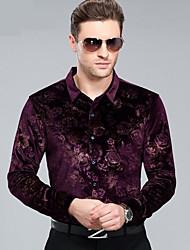 Masculino Camisa Social Casual Temática Asiática Outono,Estampado Poliéster Colarinho de Camisa Manga Comprida Média