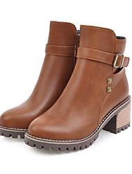 Недорогие -Жен. Обувь Полиуретан Весна Осень Удобная обувь Оригинальная обувь Армейские ботинки Ботинки На низком каблуке Заостренный носок Ботинки