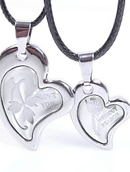 cheap -Men's / Women's Pendant Necklace - Leather, Stainless Heart Silver Necklace 2pcs For Gift, Valentine