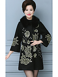 cheap -Women's Daily Vintage Chinoiserie Fall Coat,Print Round Neck Long Sleeve Long Wool