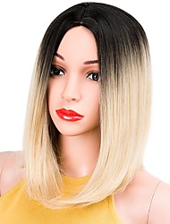 cheap -Synthetic Wig Straight Bob Haircut Dark Roots Blonde Women's Capless Natural Wigs Short Synthetic Hair