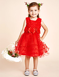 cheap -A-Line Knee Length Flower Girl Dress - Satin Sleeveless Jewel Neck with Lace / Sash / Ribbon / Flower by LAN TING BRIDE®