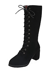 baratos -Mulheres Sapatos Courino Outono Inverno Botas da Moda Botas Salto Robusto Ponta Redonda Botas Cano Médio para Festas & Noite Preto Verde