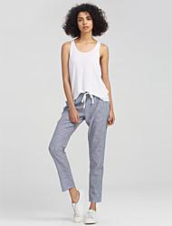 abordables -Femme Noeud Taille Normale Elastique Ample Large Pantalon, Non Disponible Automne Rayure