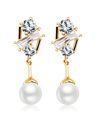 cheap -Women's Stud Earrings Drop Earrings Cubic Zirconia Imitation Pearl Sweet Lovely Fashion Zircon Copper Rose Gold Plated Geometric Irregular