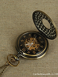 baratos -Casal Quartzo Relógio de Bolso Relógio Esqueleto Chinês Relógio Casual Lega Banda Luxo Vintage Casual Bronze