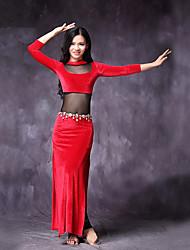economico -Danza del ventre Vestiti Per donna Esibizione Chiffon vellulato Con spacco 3/4 Sleeve di lunghezza Naturale Abiti