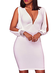 cheap -Women's Party Club Sexy Street chic Bodycon DressSolid Deep V Above Knee Long Sleeve Polyester Spring Fall Mid Rise Micro-elastic Opaque