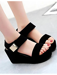 cheap -Women's Shoes Nubuck leather Winter Basic Pump Sandals Platform Pointed Toe for Casual Black White