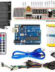 cheap -KT003 UNO Starter Kit with Bread Plate / Sensor / LED Light for Arduino DIY Parts