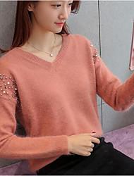 Dámské Jednoduchý Běžné/Denní Standardní Rolák Jednobarevné,Dlouhý rukáv Do V Polyester Zima Podzim Tlusté Lehce elastické
