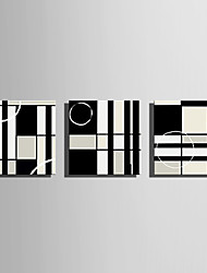 cheap -Stretched Canvas Art Abstract Black and White Squares Set of 3