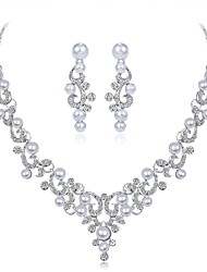 cheap -Women's Jewelry Set Imitation Pearl Rhinestone Dresswear Elegant Wedding Evening Party Imitation Pearl Zircon Silver Plated Leaf Flower 1