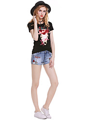 cheap -Women's Going out Active Street chic T-shirt,Print Animal Print Round Neck Short Sleeve Cotton Medium