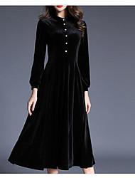 cheap -Women's Casual/Daily Boho Swing Dress,Solid Shirt Collar Midi Long Sleeve Polyester Fall High Waist High Elasticity Opaque