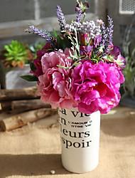 1 Větev Polyester Pivoňky Květina na stůl Umělé květiny