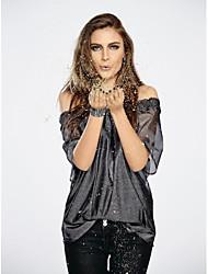 abordables -Tee-shirt Femme,Couleur Pleine Sports Décontracté / Quotidien Actif Printemps Eté Manches courtes Bateau Autres Moyen