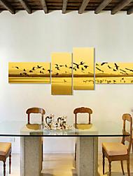 abordables -Toile Rustique Moderne, Quatre Panneaux Toile Panoramique horizontal Imprimé Décoration murale Décoration d'intérieur