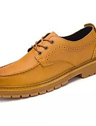 Masculino sapatos Micofibra Sintética PU Primavera Outono Conforto Tênis para Work & Safety Preto Castanho Claro Castanho Escuro
