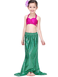 cheap -The Little Mermaid Skirt Swimwear Bikini Kid Christmas Masquerade Festival / Holiday Halloween Costumes Green Solid