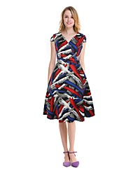 cheap -Women's A Line Dress - Color Block, Print High Rise V Neck