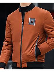 Pánské S vycpávkou Jednoduchý Denní nošení Jednobarevné-Kabát Polyester Dlouhý rukáv