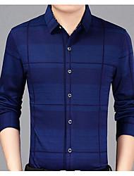 cheap -Men's Work Cotton Slim Shirt - Plaid Print / Long Sleeve