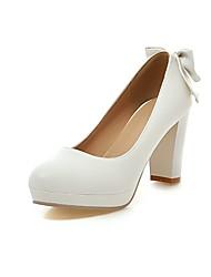 baratos -Mulheres Sapatos Courino Primavera Outono Conforto Botas da Moda Saltos Salto Robusto Dedo Apontado Laço para Casamento Branco Preto Bege