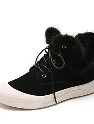 economico -Da donna Scarpe Vellutato Pelle nubuck Inverno Primavera Comoda Sneakers Basso Punta tonda Punta chiusa Piume per Casual Nero Marrone
