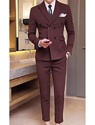 Masculino Ternos/Conjuntos Wear to work Trabalho Simples Primavera Outono,Sólido Padrão Algodão Lapela Pontuda Manga Longa
